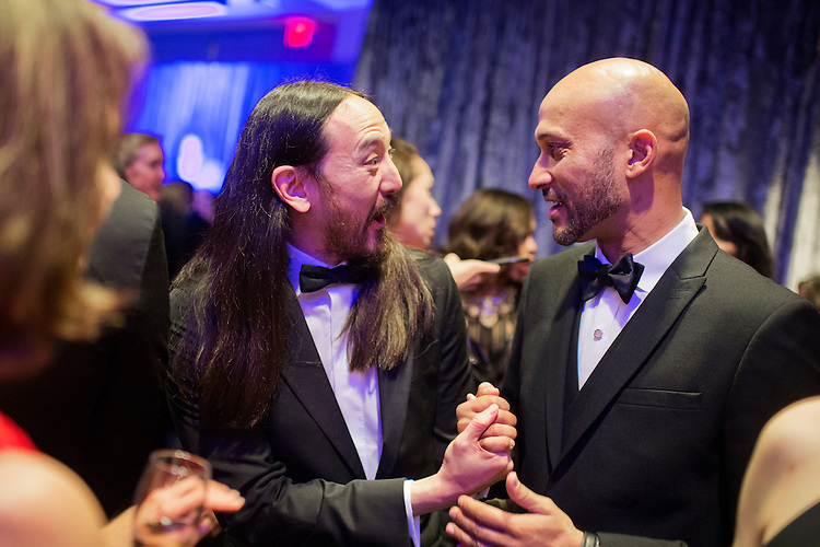 UNITED STATES - APRIL 30: Music producer Steve <br /> Aoki, left, talks with actor Keegan Michael Key at the Yahoo/ABC News party in the Washington Hilton before the White House correspondents' dinner, April 30, 2016. (Photo By Tom Williams/CQ Roll Call)