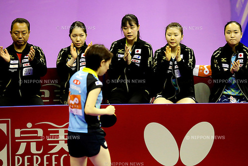 Yasukazu Murakami, Misako Wakamiya, Kasumi Ishikawa, Yui Hamamoto, Ai Fukuhara, Mima Ito (JPN),<br /> MARCH 2, 2016 -Table Tennis : Perfect 2016 World Team Table Tennis Championships Womens Group B match between Japan and Germany at Stadium Malawati, Kuala Lumpur, Malaysia. <br /> (Photo by AFLO)