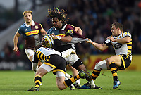 Marland Yarde of Harlequins takes on the Wasps defence. Aviva Premiership match, between Harlequins and Wasps on April 28, 2017 at the Twickenham Stoop in London, England. Photo by: Patrick Khachfe / JMP