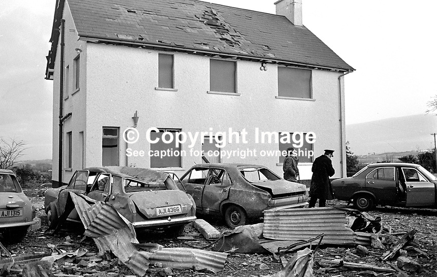 Desertmartin, Co Londonderry, farmhouse where in a premature explosion Charles Logan, Toronto Street, Belfast, described as a major in the UVF, Ulster Volunteer Force, died on 18th November 1973.  The house was owned by a former Ulster Unionist councillor, who along with his wife, were injured in the blast. In a subsequent UVF statement it was stated the couple were being held prisoner and had nothing to do with the explosion. .197311180710a.<br /> <br /> Copyright Image from Victor Patterson, 54 Dorchester Park, <br /> Belfast, UK, BT9 6RJ<br /> <br /> t1: +44 28 9066 1296 (from Rep of Ireland 048 9066 1296)<br /> t2: +44 28 9002 2446 (from Rep of Ireland 048 9002 2446)<br /> m: +44 7802 353836<br /> <br /> e1: victorpatterson@me.com<br /> e2: victorpatterson@gmail.com<br /> <br /> www.victorpatterson.com<br /> <br /> Please see my Terms and Conditions of Use at www.victorpatterson.com. It is IMPORTANT that you familiarise yourself with them.<br /> <br /> Images used on the Internet must be visibly watermarked i.e. &copy; Victor Patterson within the body of the image and copyright metadata must not be deleted. Images used on the Internet have a size restriction of 4kbs and will be chargeable at current NUJ rates unless agreed otherwise.<br /> <br /> This image is only available for the use of the download recipient i.e. television station, newspaper, magazine, book publisher, etc, and must not be passed on to any third party. It is also downloaded on condition that each and every usage is notified within 7 days to victorpatterson@me.com<br /> <br /> The right of Victor Patterson to be identified as the author is asserted in accordance with The Copyright Designs And Patents Act (1988).