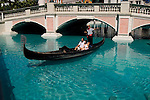 Gondola in front of the Venetian Hotel in Las Vegas Nevada, NV, Las Vegas, city, Gondola in front of Venetian Hotel, no model release, gondolier, romantic, sunny, Photo nv286-18289..Copyright: Lee Foster, www.fostertravel.com, 510-549-2202,lee@fostertravel.com