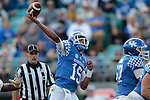 Quarterback Stephen Johnson #15 of the Kentucky Wildcats throws a pass during the second half of the TaxSlayer Bowl against the Georgia Tech Yellow Jackets at EverBank Field on Saturday, December 31, 2016 in Jacksonville, Florida. Photo by Michael Reaves | Staff.