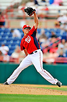 4 March 2011: Washington Nationals pitcher Tyler Clippard in action during a Spring Training game against the Atlanta Braves at Space Coast Stadium in Viera, Florida. The Braves defeated the Nationals 6-4 in Grapefruit League action. Mandatory Credit: Ed Wolfstein Photo