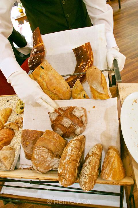 Vienna, Austria. The &quot;Steirereck&quot; with award winning Chef Heinz Reitbauer Junior is probably Vienna's best restaurant.<br /> The bread car.