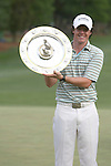 02 May 2010: Rory McIlroy and his trophy during the final round of the Quail Hollow Championship. The final round of the Quail Hollow Championship was played at the Quail Hollow Country Club in Charlotte, North Carolina and saw Rory McIlroy claim his first PGA win.Mandatory Credit: Jim Dedmon/ ZUMA Press