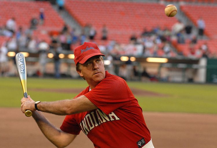 Rep. Steve Buyer, R-Ind., hits fly balls before the 45th Annual Roll Call Congressional Baseball game played at RFK stadium.