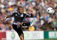 Justin Morrow of Earthquakes kicks the ball during the game against Whitecaps at Buck Shaw Stadium in Santa Clara, California on April 7th, 2012.  San Jose Earthquakes defeated Vancouver Whitecaps, 3-1.