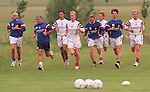 Rangers report back for pre-season training at Bellahouston Park in July 1995