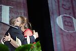 Brooke Mauro, Ohio University's new student trustee,  hugs President Roderick McDavis at Ohio University's 33rd Annual Leadership Awards Gala in Baker Ballroom on April 7, 2016. ©Ohio University/ Photo by Kaitlin Owens