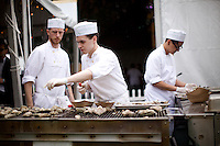 BROOKLYN, NY - MAY 18, 2013: The team from Maison Premiere grilling oysters at The Great Googa Mooga in Prospect Park. CREDIT: Clay Williams.<br /> <br /> &copy; Clay Williams / http://claywilliamsphoto.com