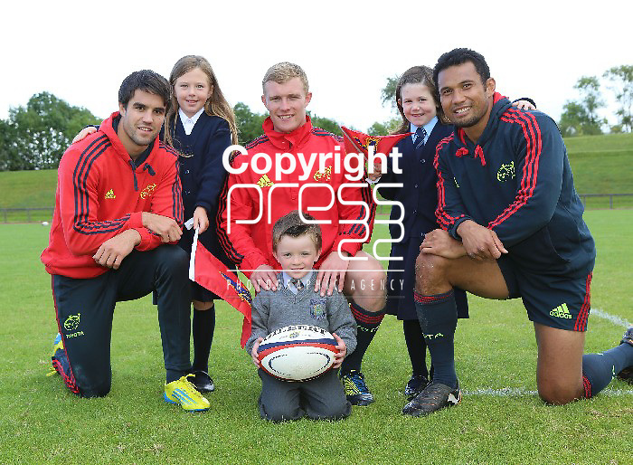 "12/9/2012  With compliments Pictured at the launch of the Brown Thomas and Munster Rugby primary schools initiative programme are Munster rugby players Conor Murray, Keith Earls and Casey Laulala with Erin Djuric(8), Newport NS Tipperary,  Mark Keane(5), Parteen, NS, Clare and Lauren Gleeson(7), Birdhill NS, Co. Tipperary.   As the official sponsors of the Munster Rugby team suiting, the exciting new Brown Thomas Limerick and Munster Rugby ""primary schools outreach initiative will draw the community together, spreading the ethos of the game to all corners of Munster and make the rugby stars more accessible to the children of the area with one lucky child winning a Munster Rugby team visit to their school. Photographs Liam Burke/Press 2212/9/2012  With compliments Bfrown Thomas Corl and Limerick are once again returning as the official formal wear paartner to the Munster Rugby team, as well as launching the new primary schools initiative. Present at the photocall  Photographs Liam Burke/Press 22"