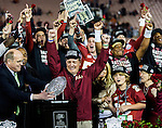 Commissioned by United Press International<br /> <br /> Florida State head coach Jimbo Fisher gets emotional after winning the BCS national title game at the Rose Bowl in Pasadena, California on January 6, 2014.  Fisher's wife, Candi and son Trey look on.