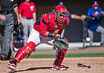 13 March 2014: Washington Nationals catcher Jhonatan Solano in action during a Spring Training game against the New York Mets at Space Coast Stadium in Viera, Florida. The Mets defeated the Nationals 7-5 in Grapefruit League play. Mandatory Credit: Ed Wolfstein Photo *** RAW (NEF) Image File Available ***
