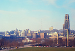 Pittsburgh PA:  University of Pittsburgh's Cathedral of Learning, Forbes Field and the city of Oakland  from Schenley Park - 1962