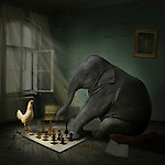 Elephant sitting playing chess with a chicken in a house with open window