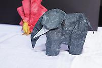 OrigamiUSA 2014 exhibition. Origami elephant designed by Marc Kirschenbaum