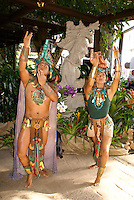 Dancers in Maya costumes performing at the Central American Travel Market 2010 (CATM 2010)in Antigua, Guatemala. .