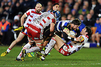 Matt Banahan of Bath Rugby crashes into James Hook of Gloucester Rugby. Aviva Premiership match, between Bath Rugby and Gloucester Rugby on February 5, 2016 at the Recreation Ground in Bath, England. Photo by: Patrick Khachfe / Onside Images
