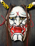 Photo shows a mask of the female demon Hanya from Iwami-Kagura dance that was made by Briton Jake Davies at his home in Sakurae Village, Shimane Prefecture, Japan on 28 June 2011..Photographer: Robert Gilhooly