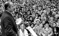 Dr John Robb, surgeon, founder New Ireland Group, from Ballymoney, Co Antrim, N Ireland, UK, addressing a public meeting of the Women Together movement in the grounds of Belfast City Hall. 197301130017..Copyright Image from Victor Patterson, 54 Dorchester Park, Belfast, UK, BT9 6RJ..Tel: +44 28 9066 1296.Mob: +44 7802 353836.Voicemail +44 20 8816 7153.Skype: victorpattersonbelfast.Email: victorpatterson@mac.com.Email: victorpatterson@ireland.com (back-up)..IMPORTANT: If you wish to use this image or any other of my images please go to www.victorpatterson.com and click on the Terms & Conditions. Then contact me by email or phone with the reference number(s) of the image(s) concerned.