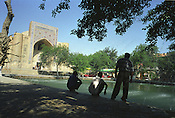The Labi-hauz ( a plaza around a pool, built in 1620), and the Nadir divanbegi khanaka  in the Old Silk Road city of Bukhara, Uzbekistan