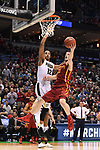 MILWAUKEE, WI - MARCH 18: Iowa State Cyclones guard Matt Thomas (21) shoots a layup around Purdue Boilermakers forward Vince Edwards (12) during the 2017 NCAA Men's Basketball Tournament held at BMO Harris Bradley Center on March 18, 2017 in Milwaukee, Wisconsin. (Photo by Jamie Schwaberow/NCAA Photos via Getty Images)