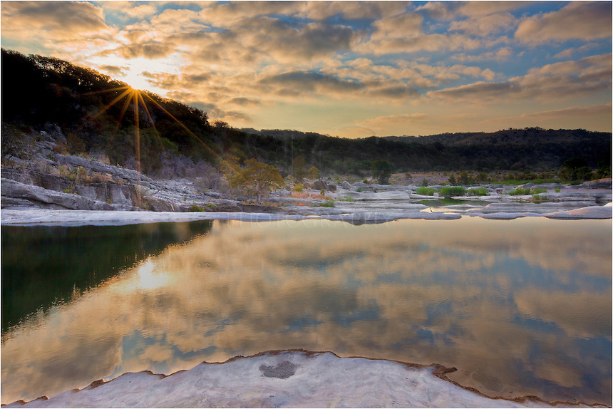 From Pedernales Falls State Park, this Texas Hill Country image is from sunrise on a beautiful morning. Life in the country is nice, and skies like this are a great way to begin your day.