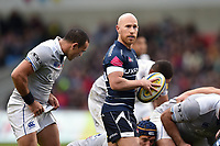 Peter Stringer of Sale Sharks looks on during a break in play. Aviva Premiership match, between Sale Sharks and Bath Rugby on May 6, 2017 at the AJ Bell Stadium in Manchester, England. Photo by: Patrick Khachfe / Onside Images