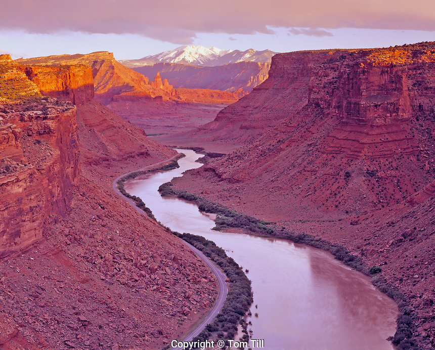 Colorado River, Fisher Towers and La Sal Mountains at Sunset, Colorado River Corridor near Moab, Utah