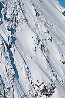 A FWT competitor skis the Mac Daddy Face at Revelstoke on the final day of the 2012 Canadian Freeskiing Championships