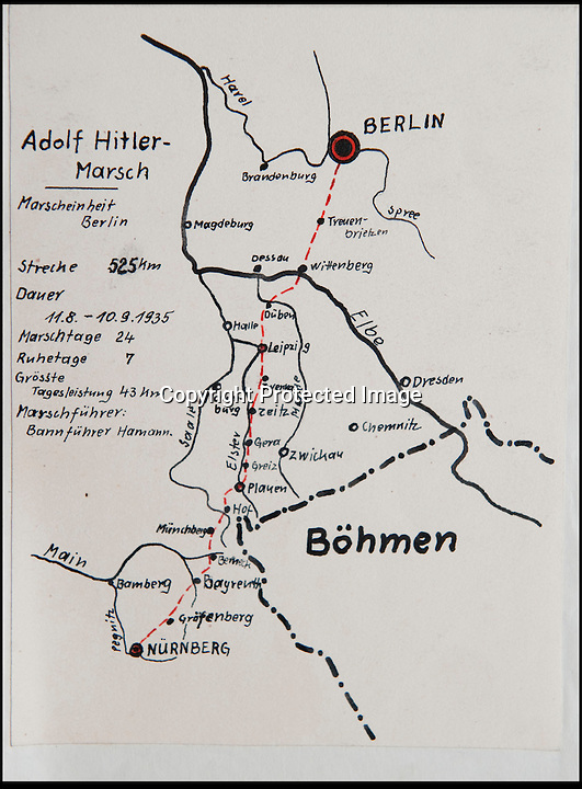 BNPS.co.uk (01202 558833)<br /> Pic: Mullocks/BNPS<br /> <br /> ***Please Use Full Byline***<br /> <br /> Helmut Nieboy's 'incredibly detailed map of a march to Berlin.<br /> <br /> Sinister archive illustrating the Nazi brainwashing of German youth comes to light...<br /> <br /> A chilling archive of an enthusiastic member of the Hitler Youth has emerged to highlight how the Nazi's brainwashed German children in the build up to WW2<br /> <br /> Helmut Nieboy kept detailed diaries during his time with the German equivalent of the Boy Scouts from 1933.<br /> <br /> Helmut also amassed a number of photographs of his time with the paramilitary group, showing the youngsters sitting around a campfire, marching and at rallies. <br /> <br /> The diaries also include incredibly detailed route marches as well as hand drawn portraits of the beloved Fuhrer with patriotic slogans.<br /> <br /> The archive, that also includes his Hitler Youth tent, knife and trumpet, are being sold by Mullock's Auctioneers of Shropshire.