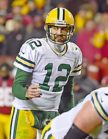 Green Bay Packers quarterback Aaron Rodgers (12) calls signals during fourth quarter action against the Washington Redskins at FedEx Field in Landover, Maryland on Sunday, November 20, 2016.  The Redskins won the game 42 - 24.<br /> Credit: Ron Sachs / CNP /MediaPunch