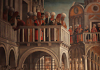 Detail from Episodi della vita di San Marco, or Scenes from the Life of St Mark, with crowds on balconies watching the scene below, 1525-26, Renaissance painting by Giovanni Mansueti, 1465-1527, in the Gallerie dell'Accademia, Venice, Italy. The scene is set in a square in Alexandria, with Venetian inspired architecture and crowds of European and Mamluk men. This was 1 of 3 paintings completed by Mansueti for the Scuola Grande di San Marco. Picture by Manuel Cohen