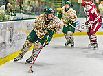 25 November 2014: University of Vermont Catamount Forward Colin Markison, a Senior from Princeton, NJ, in action against the University of Massachusetts Minutemen at Gutterson Fieldhouse in Burlington, Vermont. The Cats defeated the Minutemen 3-1 to sweep the 2-game, home-and-away Hockey East Series. The 12th ranked Catamounts wore their camouflage uniforms for the evening to honor the US military. Mandatory Credit: Ed Wolfstein Photo *** RAW (NEF) Image File Available ***