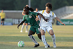 24 June 2009: Eniola Aluko (9) of Saint Louis Athletica attempts to block Aya Miyama (8) of the Los Angeles Sol from the ball.  Saint Louis Athletica was defeated by the visiting Los Angeles Sol 1-2 in a regular season Women's Professional Soccer game at AB Soccer Park, in Fenton, MO.
