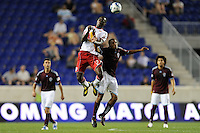 Tony Tchani (23) of the New York Red Bulls and Ross LaBauex (16) of the Colorado Rapids go up for a header. The New York Red Bulls defeated the Colorado Rapids 3-0 during a U. S. Open qualifier match at Red Bull Arena in Harrison, NJ, on May 26, 2010.