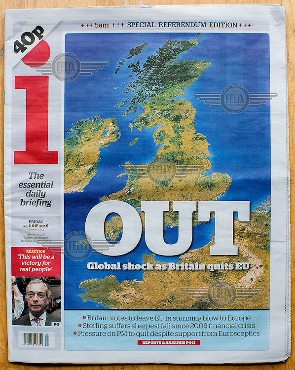 The front cover of the i newspaper announcing the result of the EU referendum on 24 June 2016, the day following the vote. The i supported the Remain (in the EU) side during the campaign leading up to the vote.