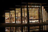 The Great Hall of the Museum of Anthropology (MOA) at night, Vancouver, BC, Canada