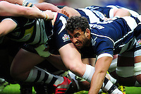 Marco Mama of Bristol Rugby in action at a scrum. Greene King IPA Championship Play-off Final (second leg), between Bristol Rugby and Doncaster Knights on May 25, 2016 at Ashton Gate Stadium in Bristol, England. Photo by: Patrick Khachfe / JMP
