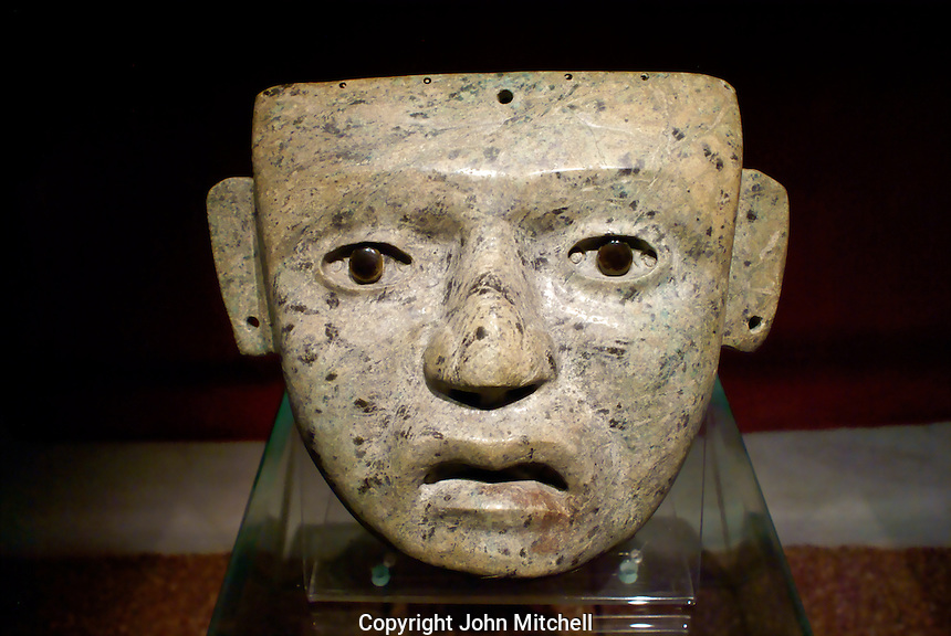 Stone mask from Teotihuacan in the Templo Mayor Museum, Mexico City..