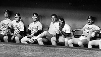 A's sit dejectedly losing game two to the Dodgers.Oakland Tribune Photo 1988 (PHOTO Ron Riesterer)