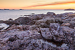 Sunrise on the rocky New England coast in Marblehead, MA, USA