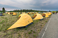 Tent camp for workers on the teams from the Interior Alaska Forest Fire Academy, Eagle Trail forest fire near Tok, Alaska, May, 2010.