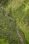 Aerial view of Waioli Stream, Kauai, Hawaii