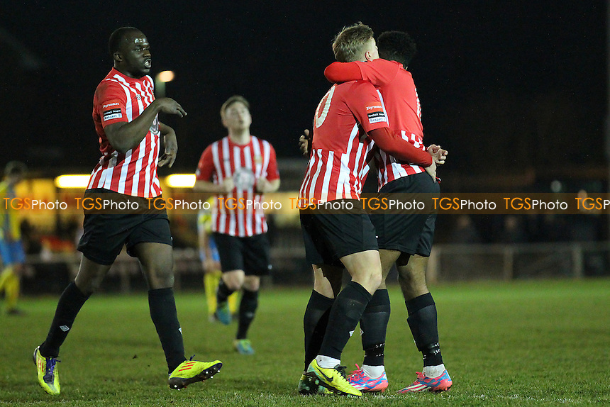George Purcell scores the first goal for Hornchurch and celebrates - AFC Hornchurch vs Canvey Island - Ryman League Premier Division Football at The Stadium, Upminster Bridge, Essex - 10/03/15 - MANDATORY CREDIT: Gavin Ellis/TGSPHOTO - Self billing applies where appropriate - 0845 094 6026 - contact@tgsphoto.co.uk - NO UNPAID USE