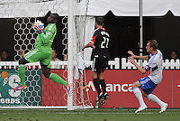 D.C. United goalkeeper Bill Hamid (28) goes up to make a save. D.C. United defeated Montreal Impact 3-0 at RFK Stadium, Saturday June 30, 2012.