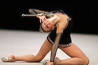 Svetlana Rudalova of Belarus (here performing with clubs) performed in all four apparatus finals in rhythmic gymnastics at World Games from Duisburg, Germany on July 20-21, 2005.  Event finals in rhythmic gymnastics are only held at World Games. (Photo by Tom Theobald)