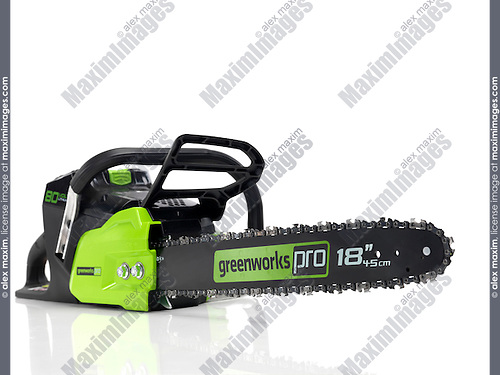 Electric Cordless battery powered chainsaw Greenworks isolated on white background