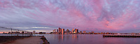 harbor skyline sunrise from East Boston, MA panorama