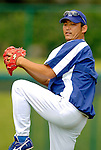 19 March 2006: Takashi Saito, pitcher for the Los Angeles Dodgers, warms up prior to a Spring Training game against the Washington Nationals at Holeman Stadium, in Vero Beach, Florida. The Dodgers defeated the Nationals 9-1 in Grapefruit League play...Mandatory Photo Credit: Ed Wolfstein Photo..